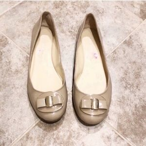 Nine West nude patent leather ballet flats…